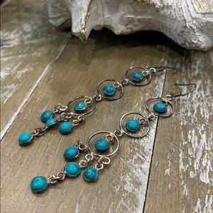 🌅Genuine Turquoise & Sterling Chandelier Earrings